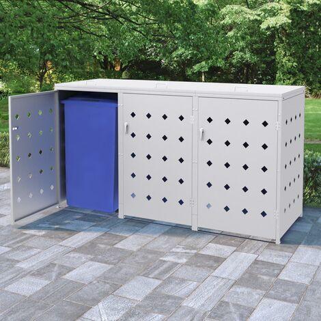 Hommoo Mülltonnenbox für 3 Tonnen 240 L Edelstahl DDH35100