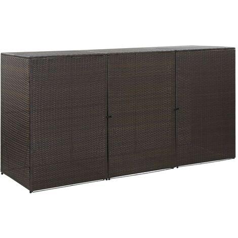 Hommoo Mülltonnenbox für 3 Tonnen Braun 229 x 78 x 120 cm Poly Rattan VD45639