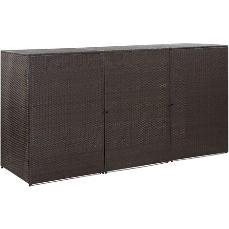 Hommoo Mülltonnenbox für 3 Tonnen Braun 229 x 78 x 120 cm Poly Rattan DDH45639