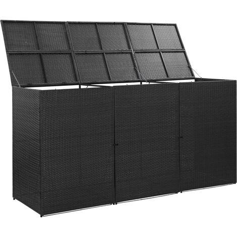 Hommoo Mülltonnenbox für 3 Tonnen Schwarz 229x78x120 cm Poly Rattan VD45640