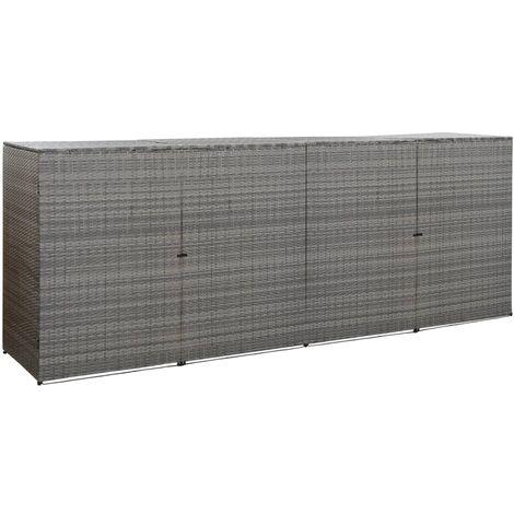 Hommoo Mülltonnenbox für 4 Tonnen Anthrazit 305x78x120 cm Poly Rattan DDH45644