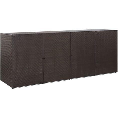 Hommoo Mülltonnenbox für 4 Tonnen Braun 305 x 78 x 120 cm Poly Rattan DDH45642