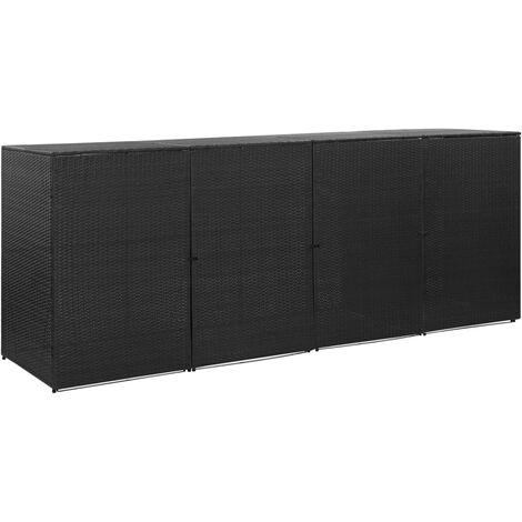 Hommoo Mülltonnenbox für 4 Tonnen Schwarz 305x78x120 cm Poly Rattan DDH45643