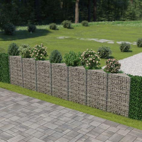 Hommoo Mur de gabion Acier galvanisé 450 x 30 x 100 cm