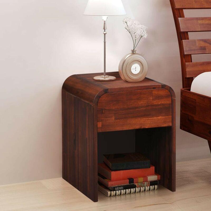 Nachttisch 41,5x42x52 cm Massivholz Akazie VD11472 - Hommoo