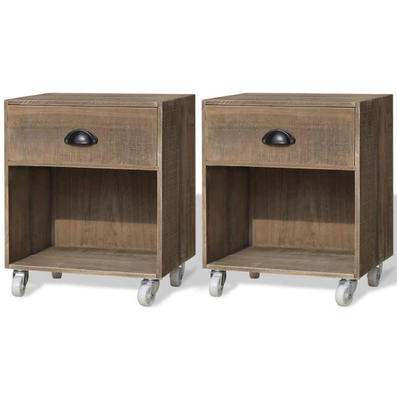 Nachttisch Braun 2 Stk Massivholz VD09653 - Hommoo