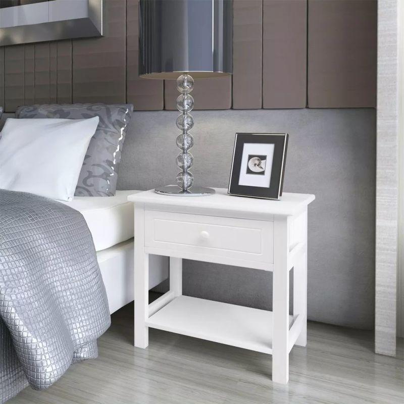 Nachttisch Holz 2 Stk. Weiß VD09485 - Hommoo