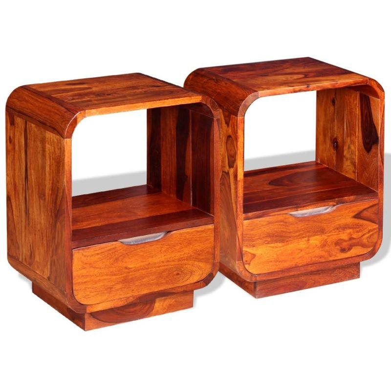 Nachttisch mit Schublade 2 Stk Sheesham-Holz Massiv 40x30x50 cm VD10190 - Hommoo