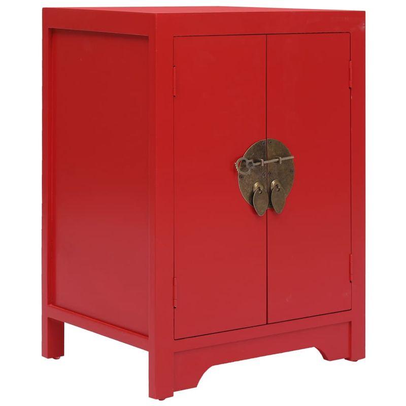 Nachttisch Rot 38x28x52 cm Paulownia Holz VD24615 - Hommoo