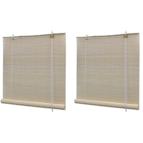 Hommoo Natural Bamboo Roller Blinds 2 pcs 120x160 cm VD21063