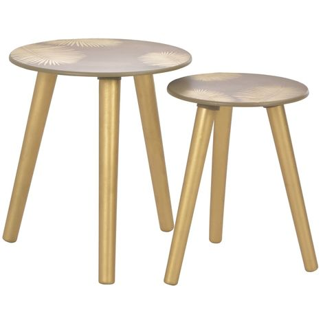 Hommoo Nesting Side Tables 2 pcs Gold 40x45 cm/30x40 cm MDF VD13259