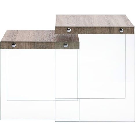 Hommoo Nesting Tables 2 pcs Oak MDF QAH13189