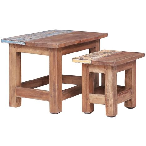 Hommoo Nesting Tables 2 pcs Solid Reclaimed Wood