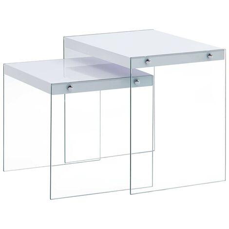 Hommoo Nesting Tables 2 pcs White MDF