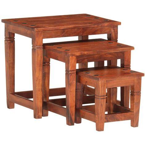 Hommoo Nesting Tables 3 pcs Solid Acacia Wood