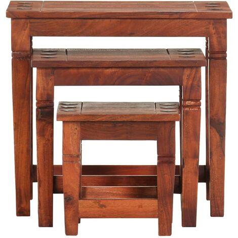 Hommoo Nesting Tables 3 pcs Solid Acacia Wood QAH36682