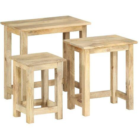 Hommoo Nesting Tables 3 pcs Solid Mango Wood
