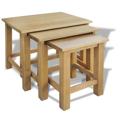 Hommoo Nesting Tables 3 pcs Solid Oak Wood VD09677