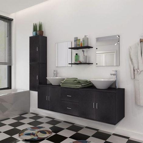 Hommoo Nine Piece Bathroom Furniture and Basin Set Black VD15786