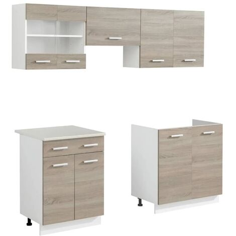 Hommoo Oak Look Kitchen Cabinet Unit 5 pcs 200 cm QAH08731
