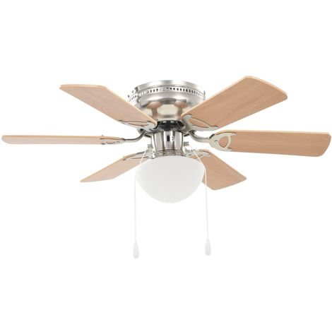 Hommoo Ornate Ceiling Fan with Light 82 cm Light Brown