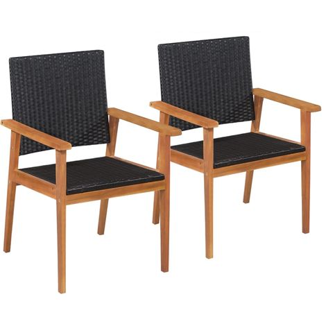 Hommoo Outdoor Chairs 2 pcs Poly Rattan Black and Brown