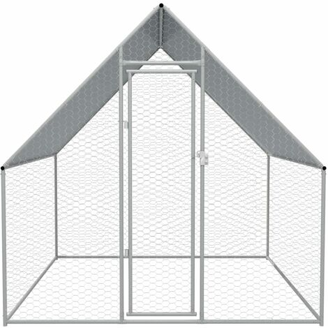 Hommoo Outdoor Chicken Cage 2x2x1.92 m Galvanised Steel QAH07051