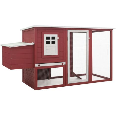 Hommoo Outdoor Chicken Cage Hen House with 1 Egg Cage Red Wood