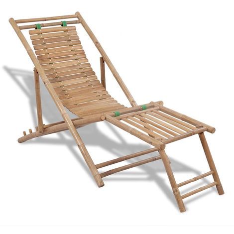 Hommoo Outdoor Deck Chair with Footrest Bamboo