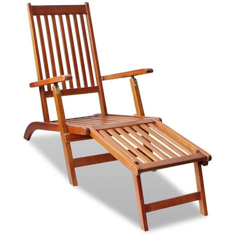 Hommoo Outdoor Deck Chair with Footrest Solid Acacia Wood VD26490