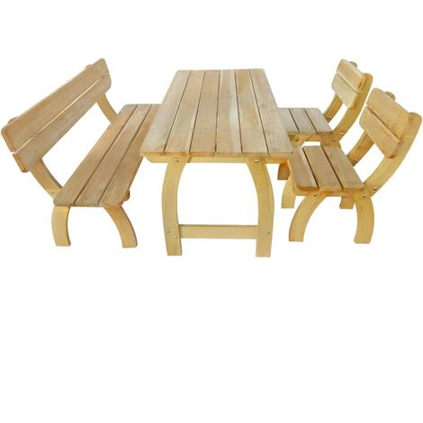 Hommoo Outdoor Dining Set 4 Pieces FSC Impregnated Pinewood