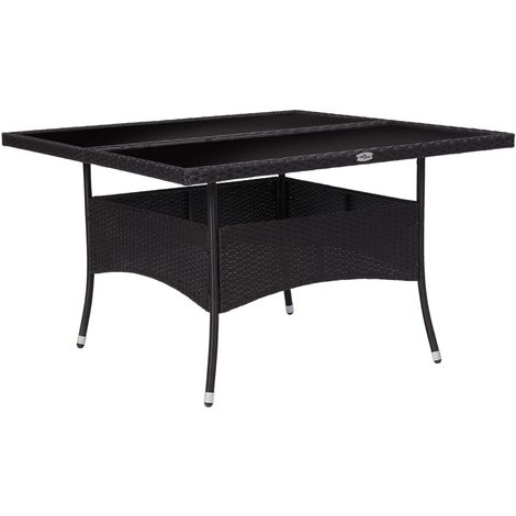 Hommoo Outdoor Dining Table Black Poly Rattan and Glass