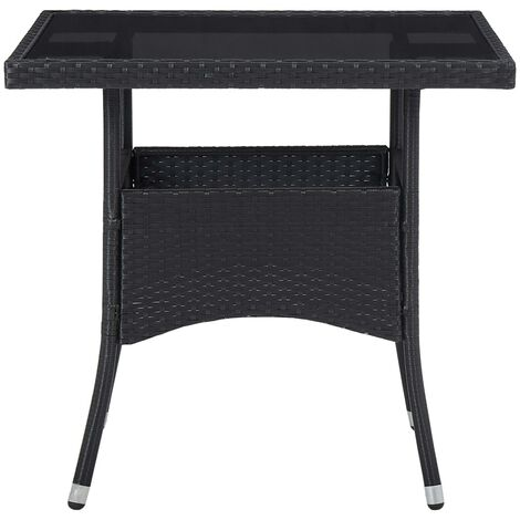 Hommoo Outdoor Dining Table Black Poly Rattan and Glass QAH29958