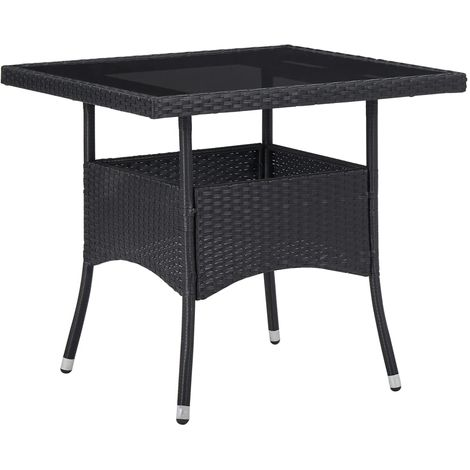 Hommoo Outdoor Dining Table Black Poly Rattan and Glass VD29958