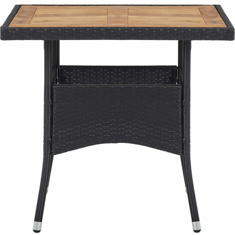 Hommoo Outdoor Dining Table Black Poly Rattan and Solid Acacia Wood QAH29952