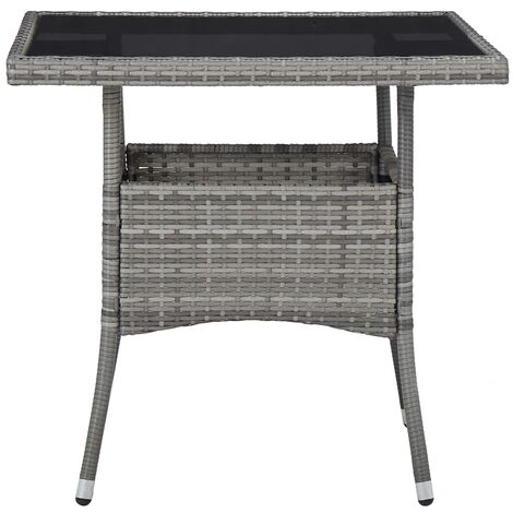 Hommoo Outdoor Dining Table Grey Poly Rattan and Glass QAH29959