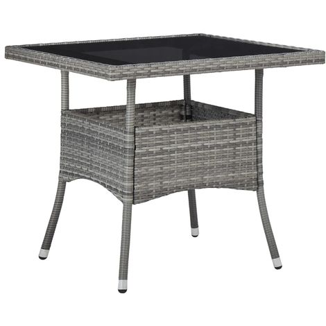 Hommoo Outdoor Dining Table Grey Poly Rattan and Glass VD29959