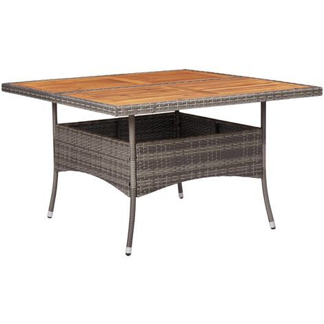 Hommoo Outdoor Dining Table Grey Poly Rattan and Solid Acacia Wood