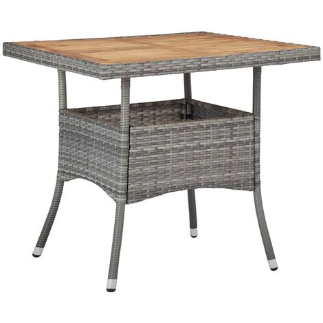 Hommoo Outdoor Dining Table Grey Poly Rattan and Solid Acacia Wood VD29953