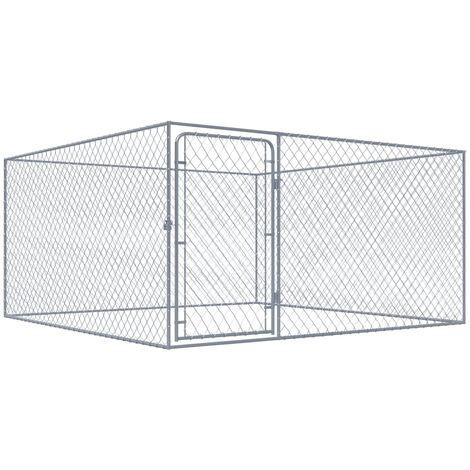 Hommoo Outdoor Dog Kennel Galvanised Steel 2x2x1 m QAH33046