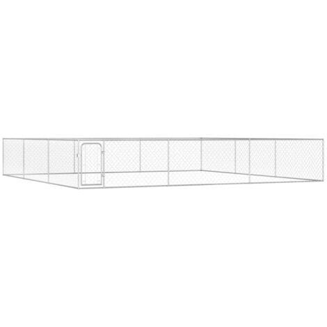 Hommoo Outdoor Dog Kennel Galvanised Steel 6x6x1 m VD07333