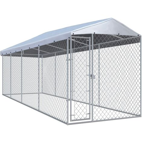 Hommoo Outdoor Dog Kennel with Roof 7.6x1.9x2.4 m QAH06400