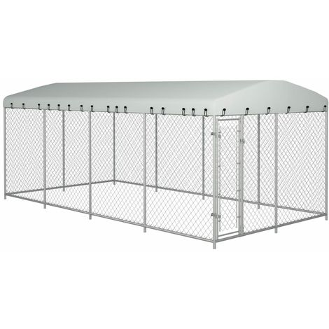 Hommoo Outdoor Dog Kennel with Roof 8x4x2 m VD06311