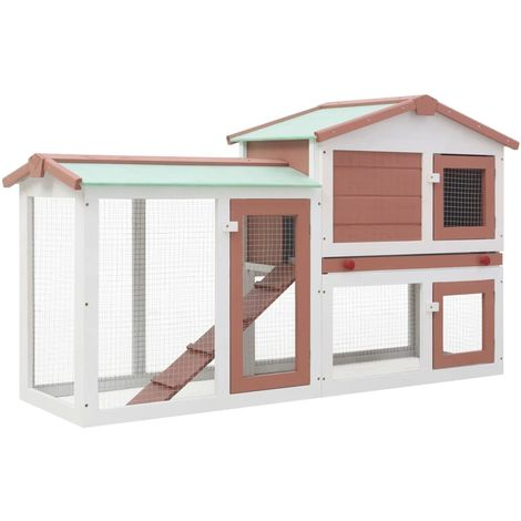 Hommoo Outdoor Large Rabbit Hutch Brown and White 145x45x85 cm Wood