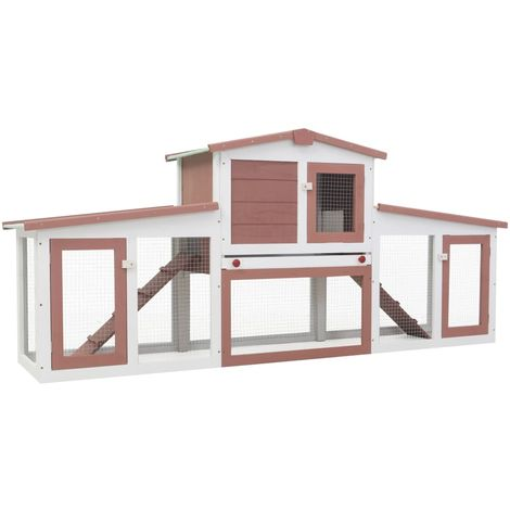 Hommoo Outdoor Large Rabbit Hutch Brown and White 204x45x85 cm Wood