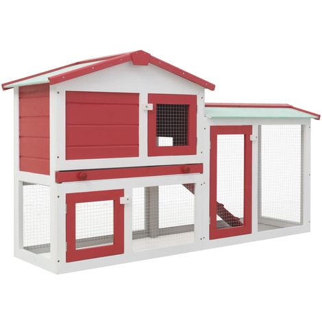 Hommoo Outdoor Large Rabbit Hutch Red and White 145x45x85 cm Wood