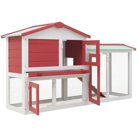 Hommoo Outdoor Large Rabbit Hutch Red and White 145x45x85 cm Wood QAH35623