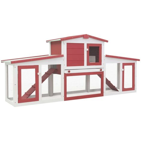 Hommoo Outdoor Large Rabbit Hutch Red and White 204x45x85 cm Wood VD35626