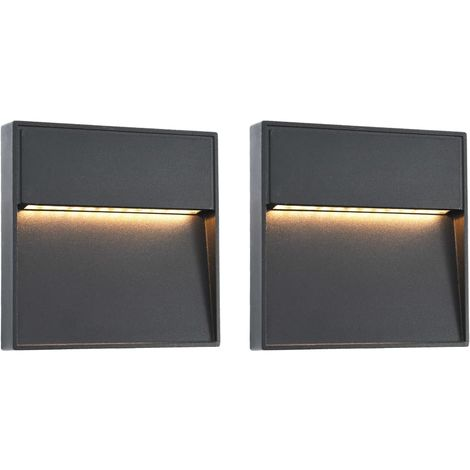 Hommoo Outdoor LED Wall Lights 2 pcs 3 W Black Square