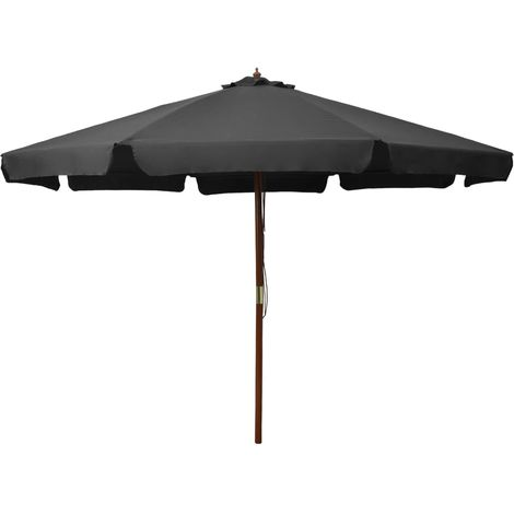 Hommoo Outdoor Parasol with Wooden Pole 330 cm Anthracite